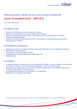 Junior Consultant (m/w)* - SAP IS-U