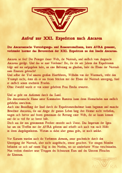 Aufruf zur XXI. Expedition nach Ancarea