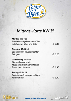 Mittags-Karte KW 15 - Carpe Diem Dillenburg