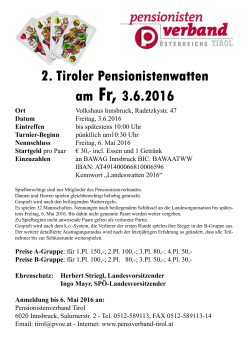 2. Tiroler Pensionistenwatten am Fr, 3.6.2016 Ort