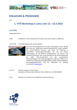 EINLADUNG PROGRAMM 1. VTÖ Workshop 2016