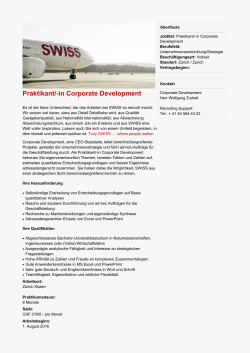 Praktikant/-in Corporate Development
