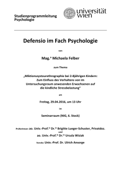 Defensio im Fach Psychologie