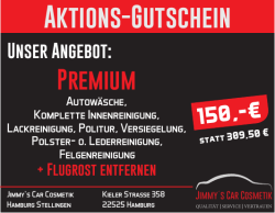 Aktions-Gutschein - bei Jimmy´s Car Cosmetik