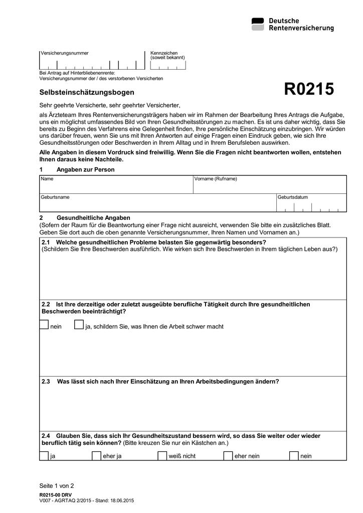 R0215 selbsteinschätzungsbogen Blog Rentenberater