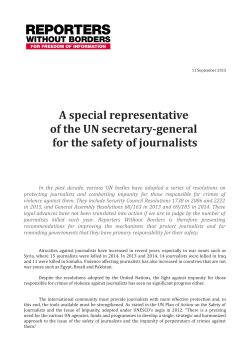 A special representative of the UN secretary