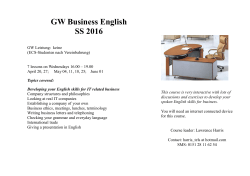 GW Business English SS 2016