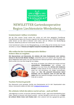 Zum Newsletter - Gartenkooperative Region Liechtenstein