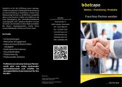 Franchise Flyer - bei betcapo Sports and Gambling Inc.