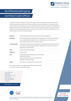 Credit Officer - Frankfurt School of Finance
