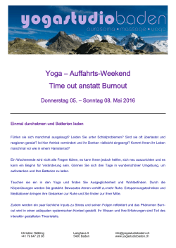 Yoga – Auffahrts-Weekend Time out anstatt Burnout