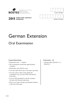German Extension Oral Exam Paper
