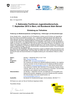 3. Nationales Fachforum Jugendmedienschutz, 7. September 2015