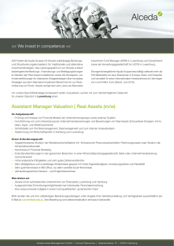 Assistant Manager Valuation | Real Assets (m/w)