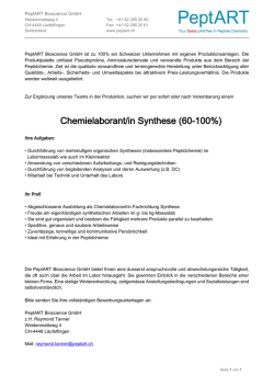 Chemielaborant/in Synthese (60-100%)