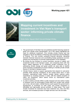 Mapping current incentives and investment in Viet Nam`s transport