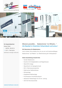 "Mission possible... Badezimmer ""on Wheels..."" Als Neuheit in"