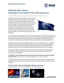 Preparing the next phase of ESA`s SSA programme