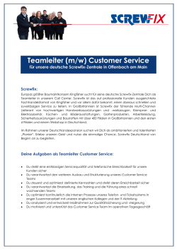 Teamleiter (m/w) Customer Service