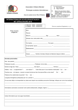 questionnaire d`inscription 2016 - Association Orléans