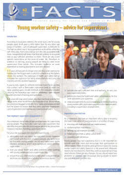 Young worker safety - advice for supervisors