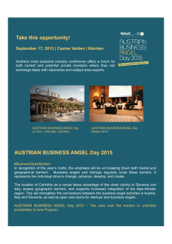 Take this opportunity! AUSTRIAN BUSINESS ANGEL Day 2015