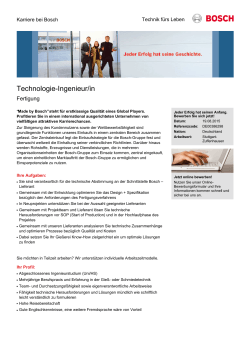 Technologie-Ingenieur/in