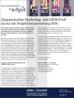 Akquisestarker Marketing- und CRM-Profi (w/m)