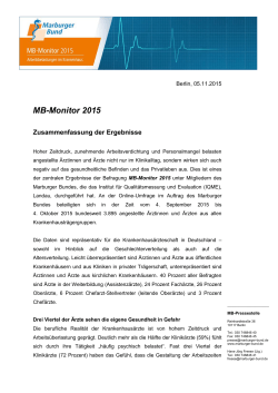 MB-Monitor 2015 - Marburger Bund