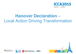 Hanover Declaration - Local Action Driving Transformation