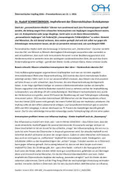 Statement ÖÄK-Impfreferent MR Dr. Rudolf Schmitzberger