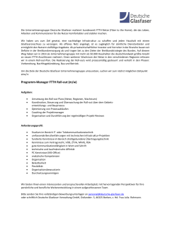 Programm-Manager FTTH Roll-out (m/w)