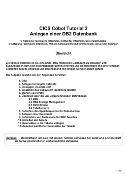 CICS Cobol Tutorial 2 Anlegen einer DB2 Datenbank