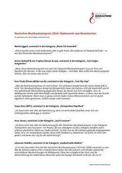 Statements von Nominierten