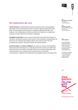 Die Statements der Jury - Pina Bausch Fellowship for Dance and