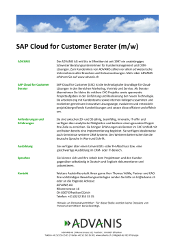 SAP Cloud for Customer Berater (m/w)