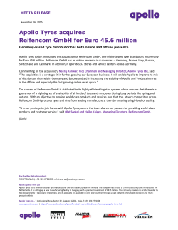 Apollo Tyres acquires Reifencom GmbH for Euro 45.6 million