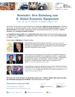 Reminder: Ihre Einladung zum 8. Global Economic Symposium