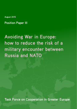 Avoiding War in Europe - European Leadership Network