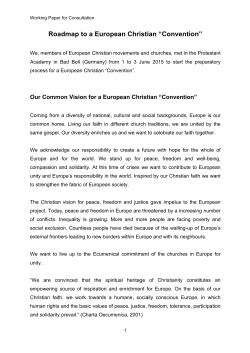"Roadmap to a European Christian ""Convention"""