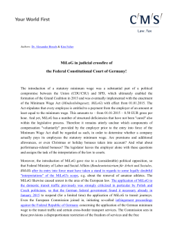 MiLoG in judicial crossfire of the Federal Constitutional
