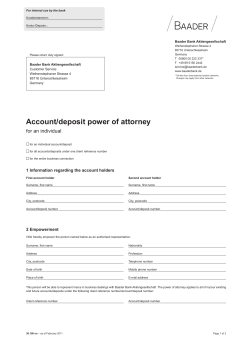 Account/deposit power of attorney