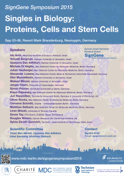 SignGene Symposium 2015 - Max Delbrück Center for Molecular