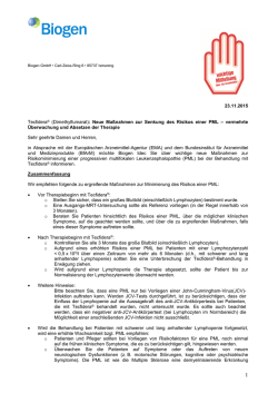 Rote-Hand-Brief zu Tecfidera® (Dimethylfumarat) vom 23.11.2015