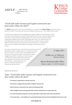 """Good faith under German and English construction law – does"