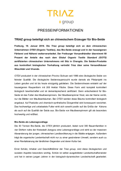 Presseinformation `Triaz group: Beteiligung an OTEX`
