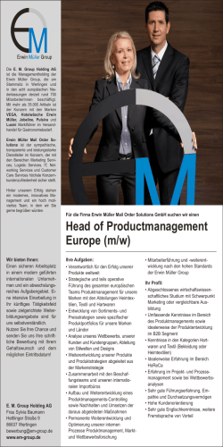 Head of Productmanagement Europe (m/w)