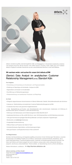 (Senior) Data Analyst im analytischen Customer Relationship