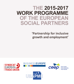 THE 2015-2017 WORK PROGRAMME OF THE EUROPEAN