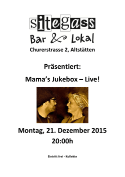 Mama`s Jukebox – Live! Montag, 21. Dezember 2015 20